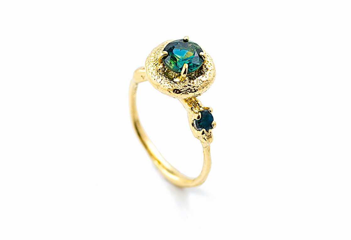 Surfacing Ring | yellow gold, Australian parti sapphire, alexanderite