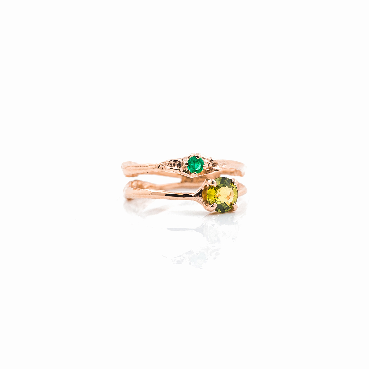 Towers Double Band | Rose gold, green sapphire, emerald.
