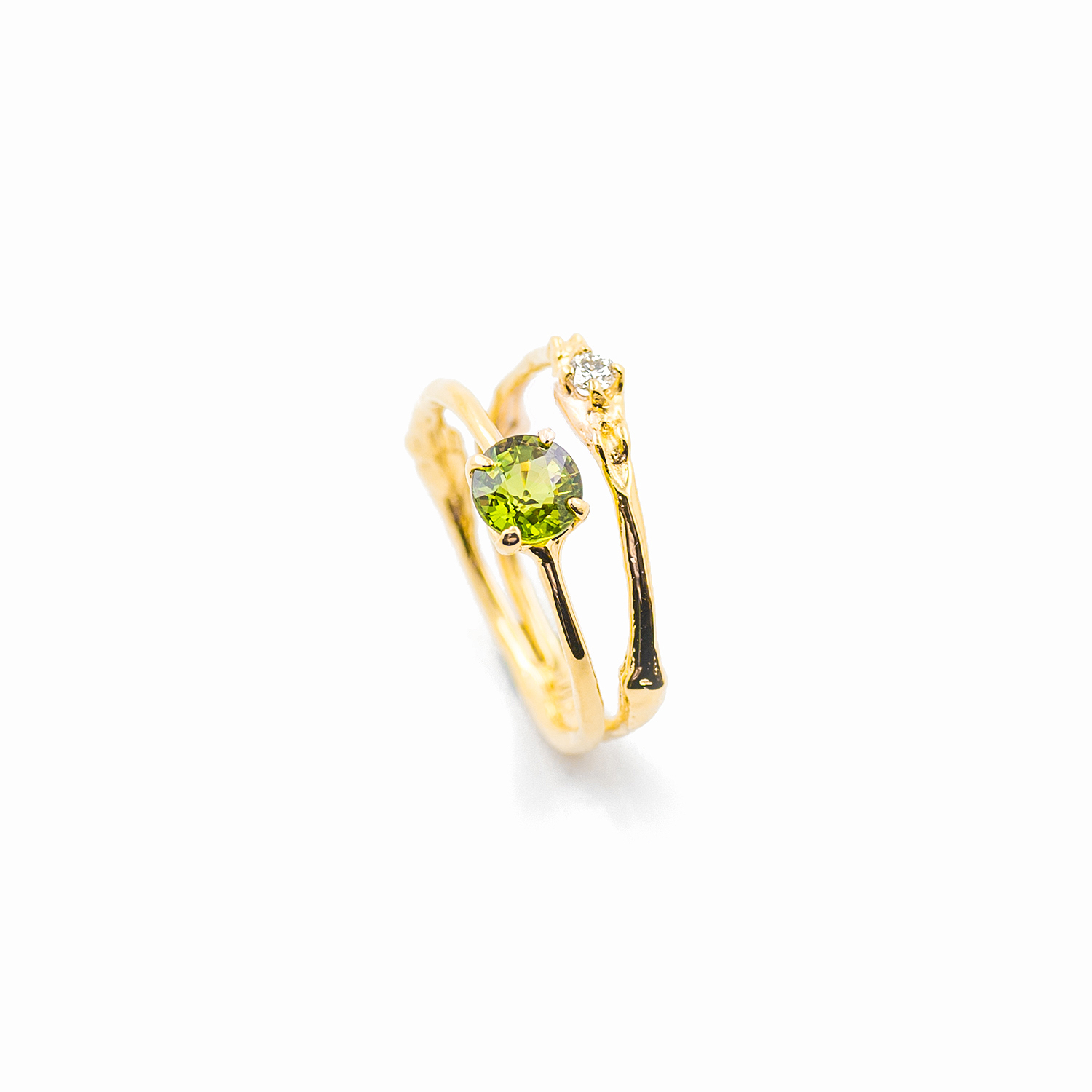 Towers Double Band |  18ct yellow gold, green sapphire, white diamond.