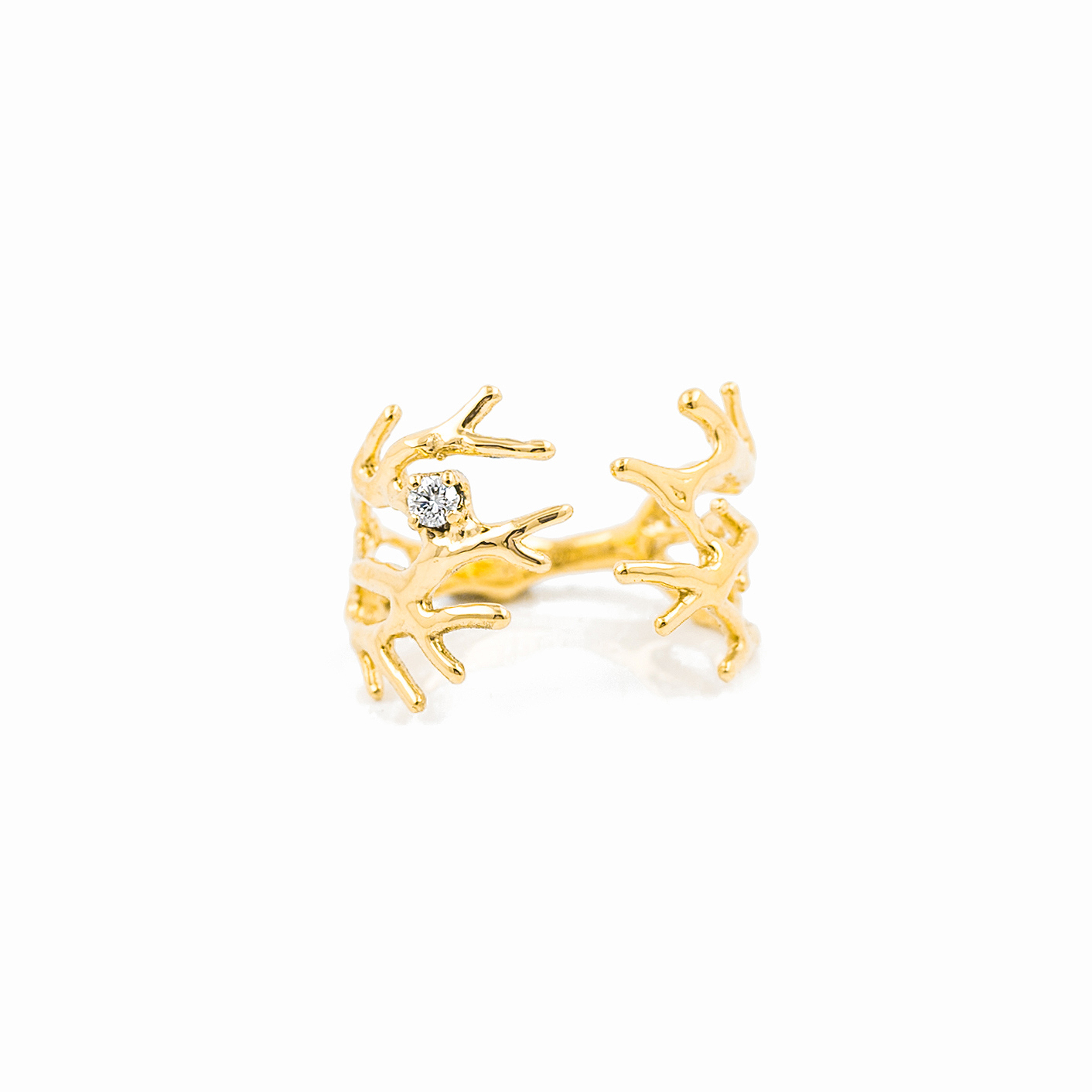 Dendrite Ring | 18ct yellow gold, white diamond.