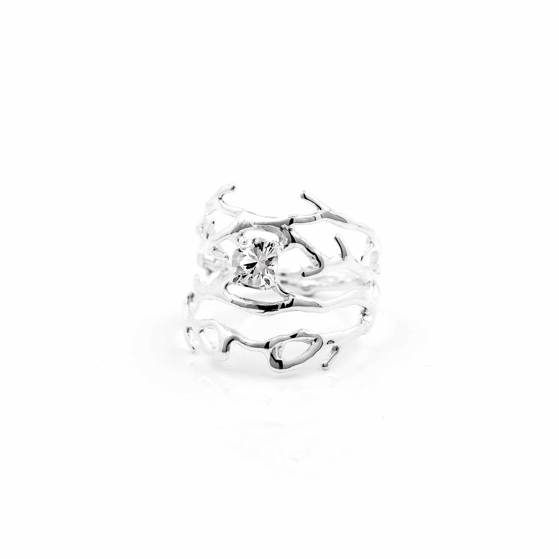 Purkinje Ring | Sterling silver, white sapphire.