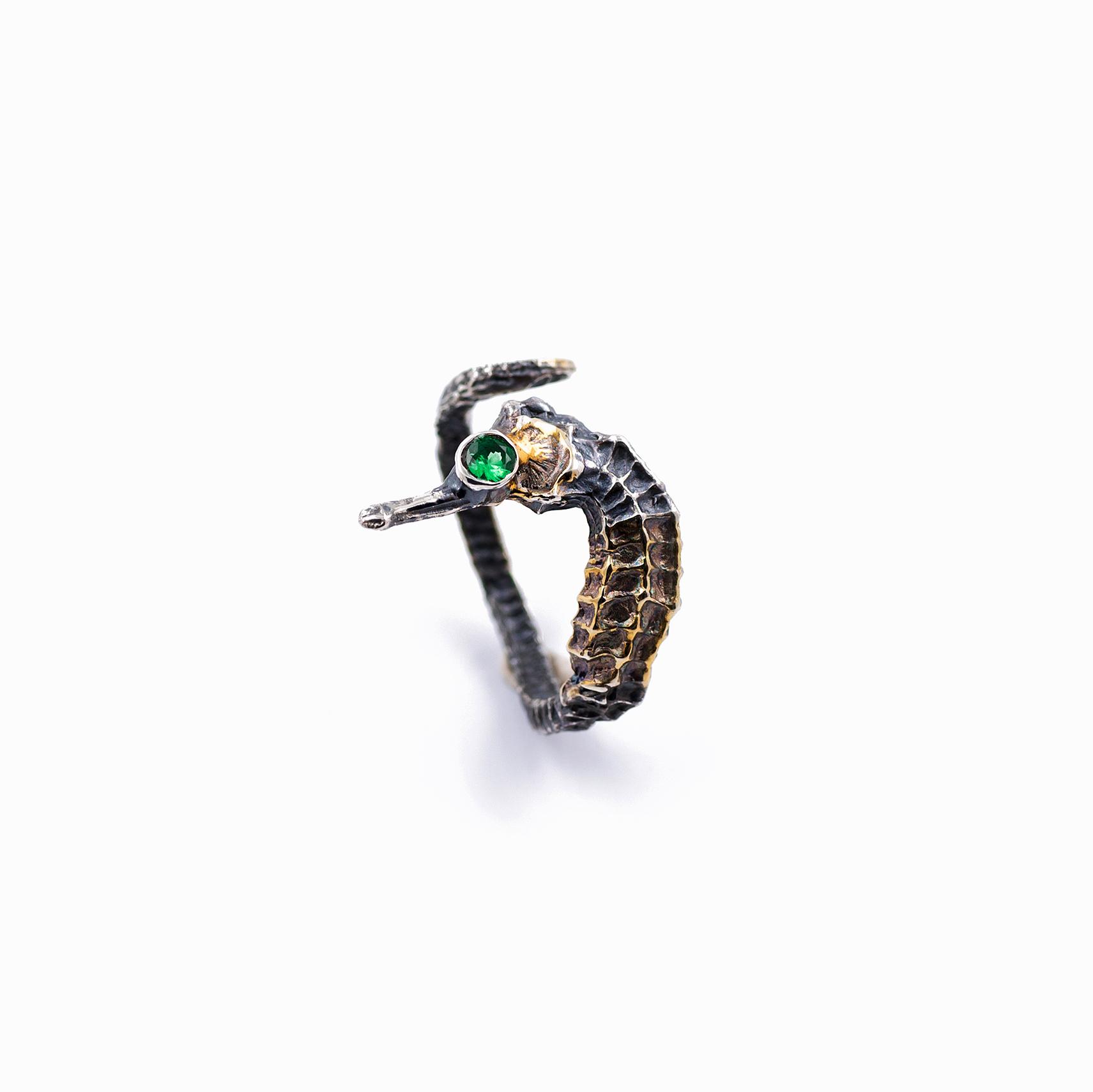 Seahorse Ring | Sterling silver, tanzanite.