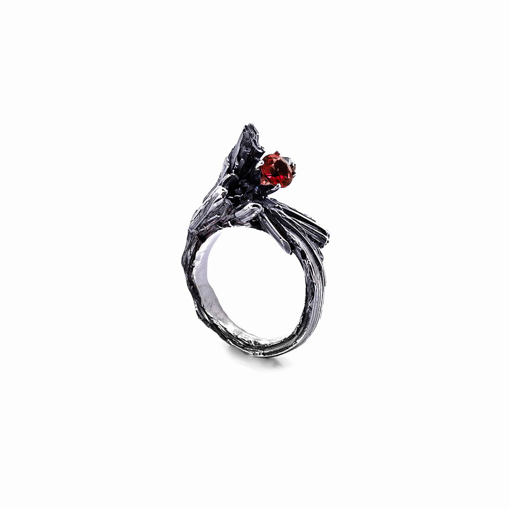 Namazu Ring | Side Set | Sterling silver, garnet.