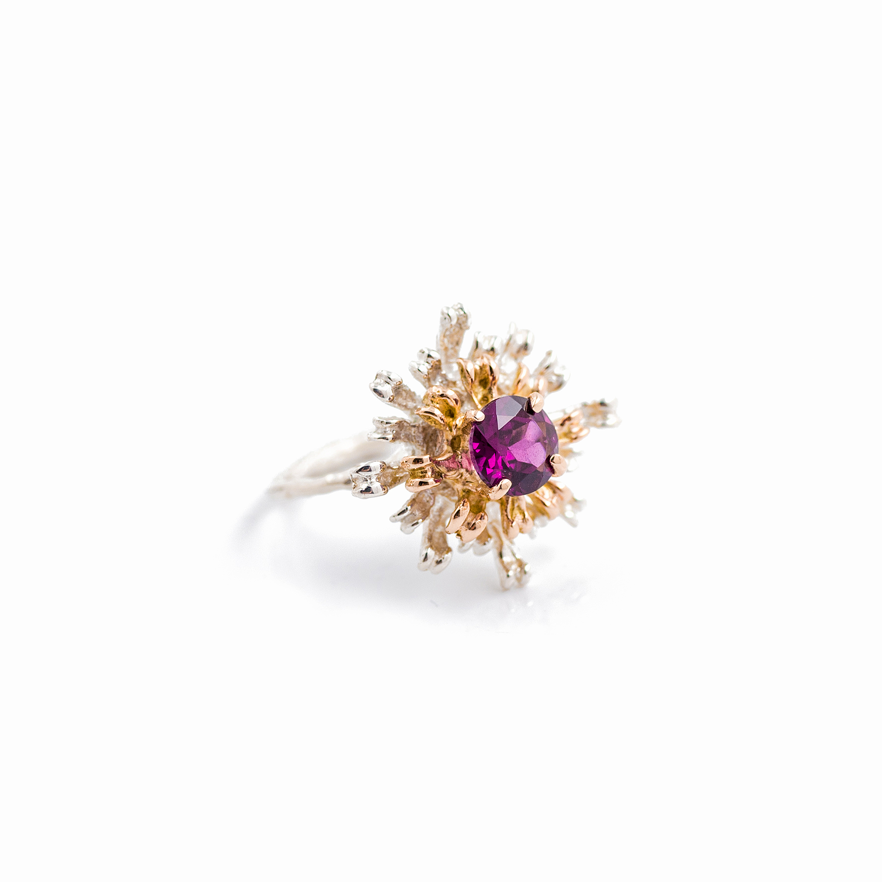 The Flowers Remaining Ring | 9ct yellow gold, sterling silver, garnet.