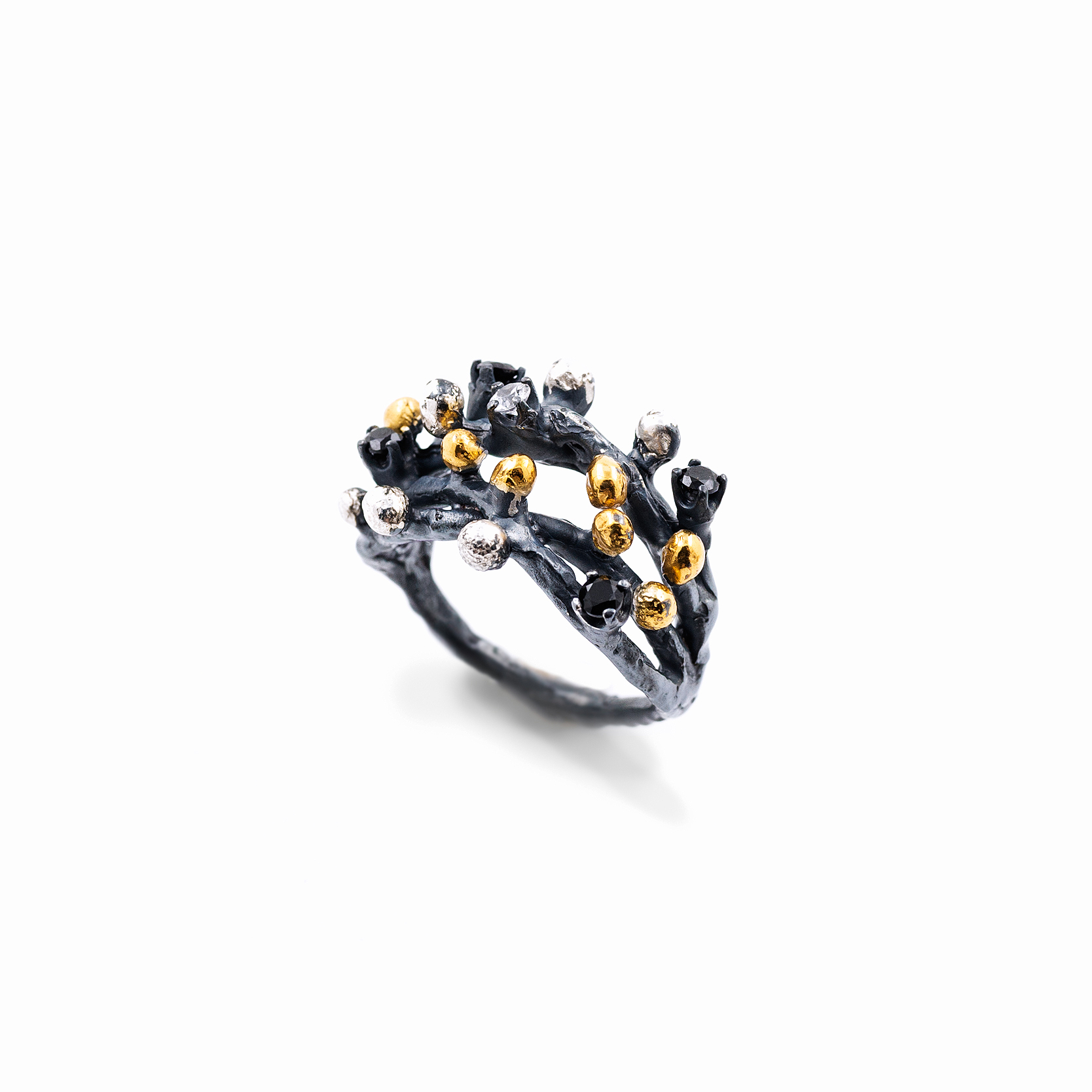 Efflorescence Ring | Sterling silver, white sapphire, spinel, gold vermeil, patina.