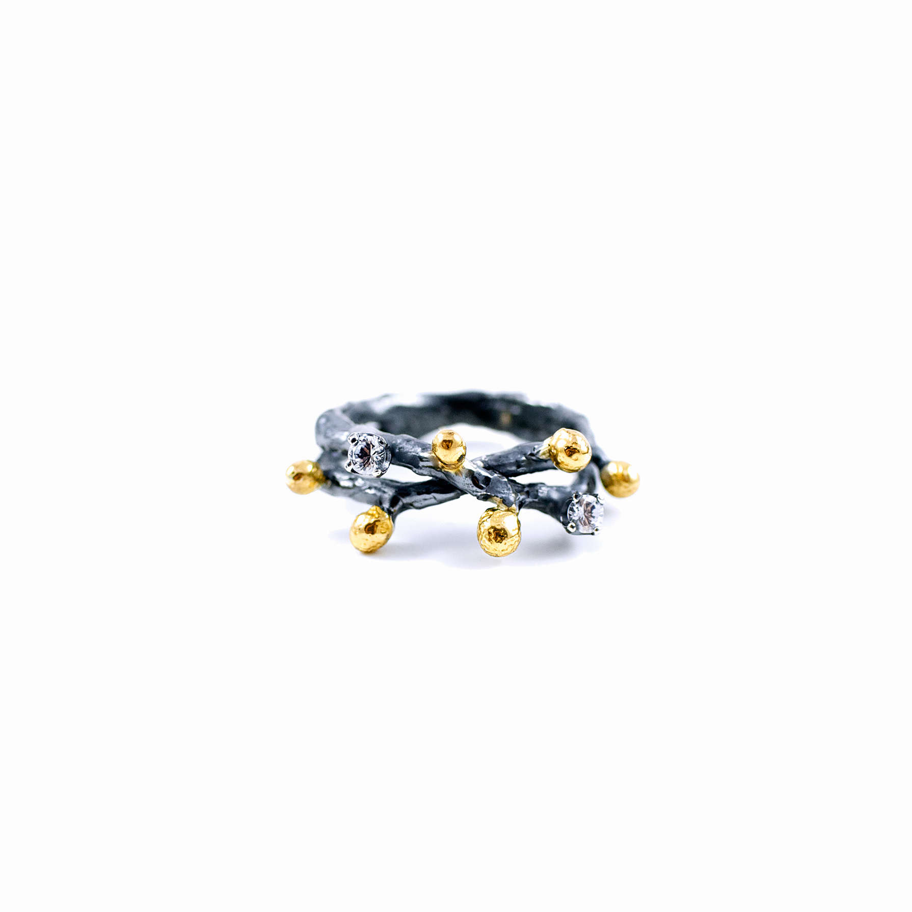 Efflorescence Ring | Sterling silver, white sapphires, gold vermeil, patina.