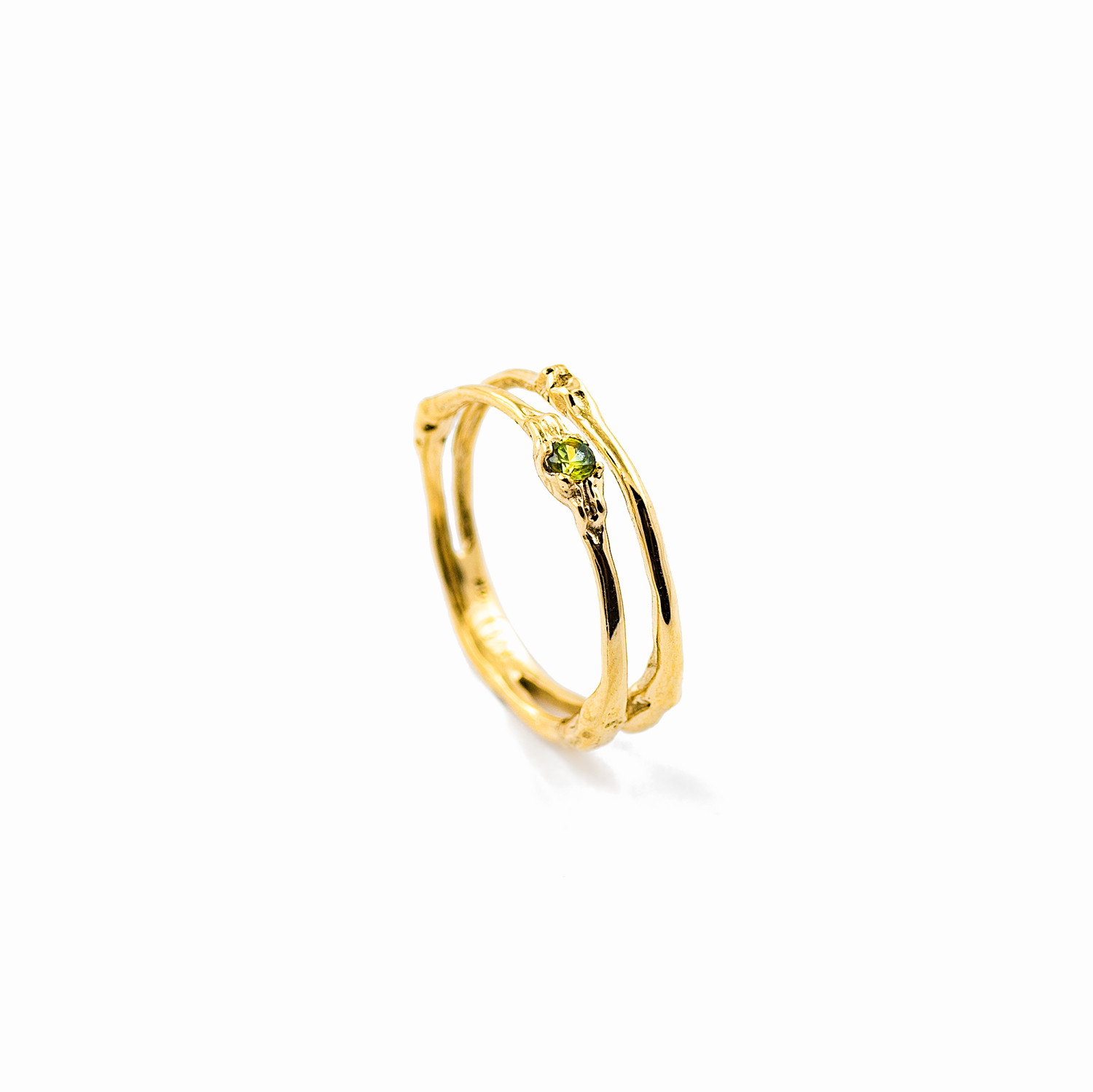 Towers Double Band | Yellow gold, yellow-green Australian sapphire.