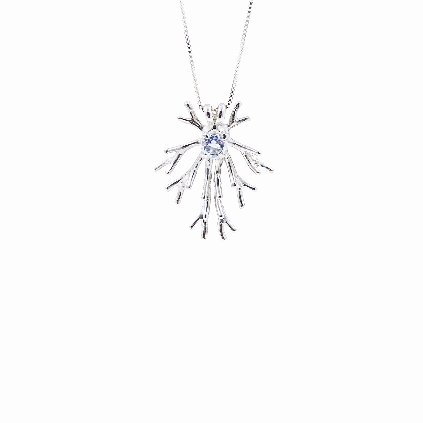 Astrocyte Pendant | Sterling silver, moonstone.