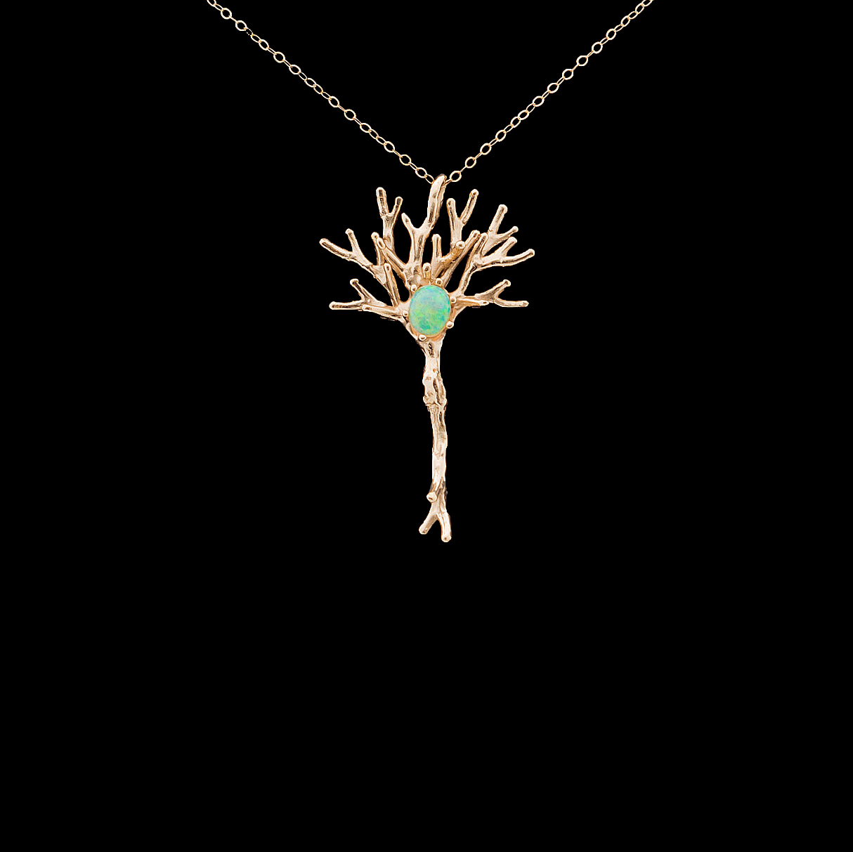 Neuron Pendant | Yellow gold, Australian opal.