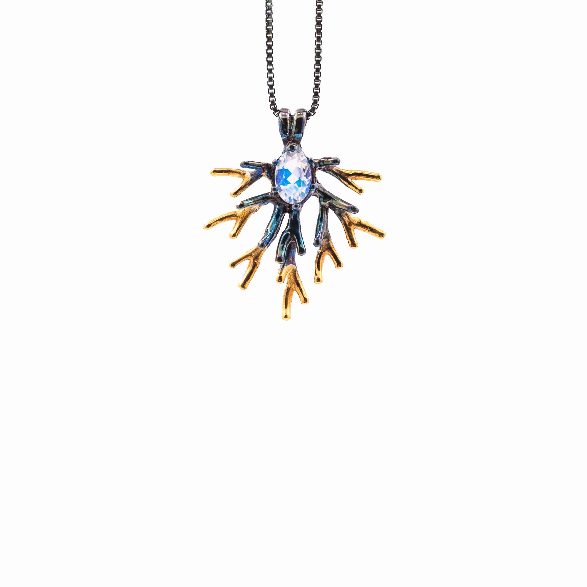 Unfolding Pendant | Sterling silver, moonstone, gold vermeil, patina.
