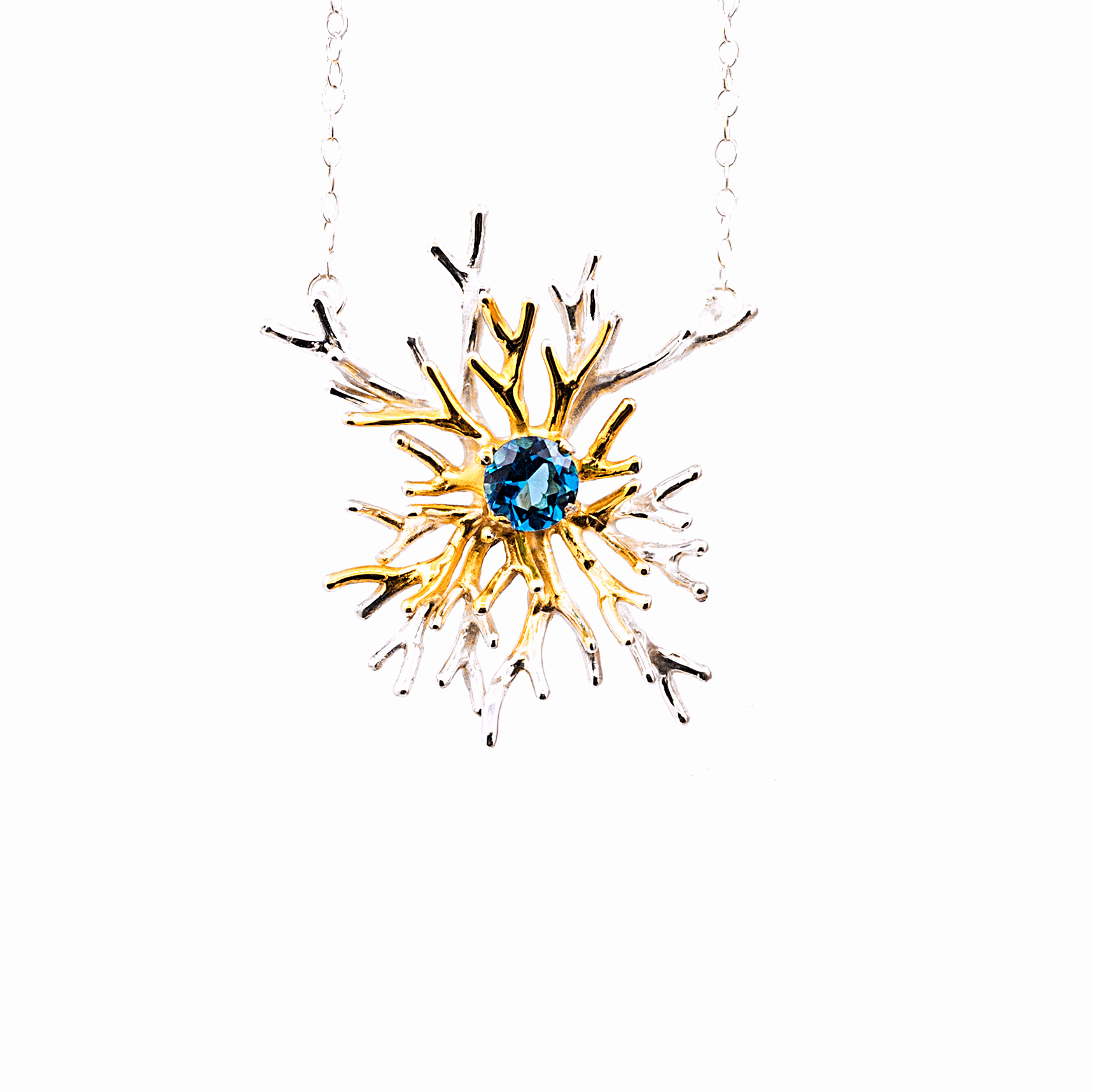 Unfolding Pendant | Sterling silver, london blue topaz, gold vermeil.