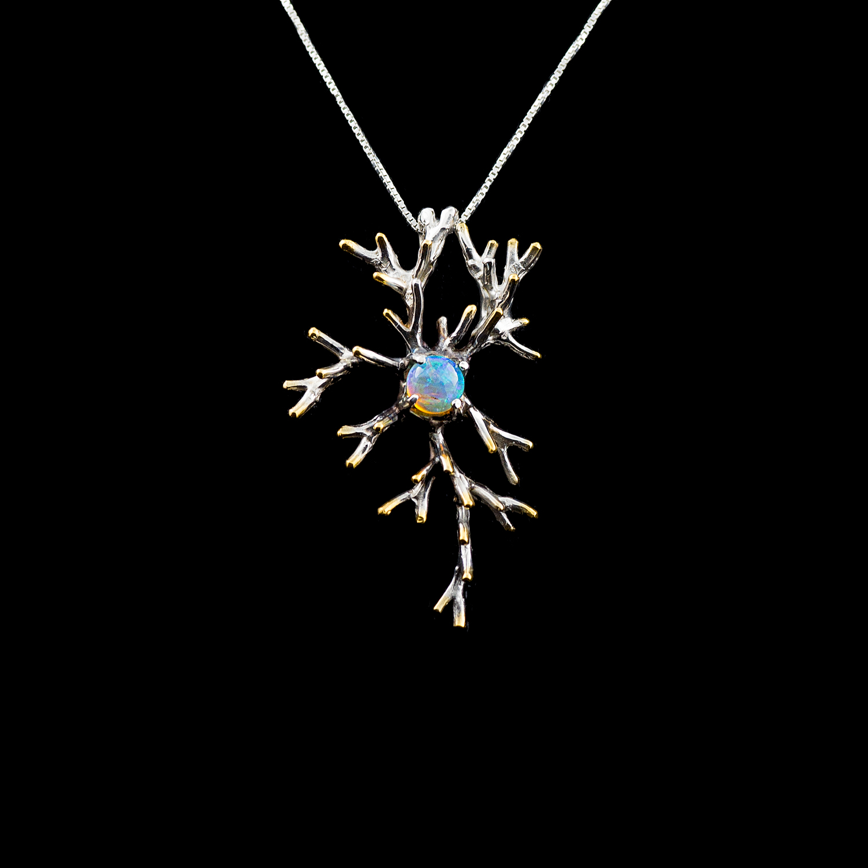 Neuron Pendant | Sterling silver, Australian opal, gold vermeil, patina.