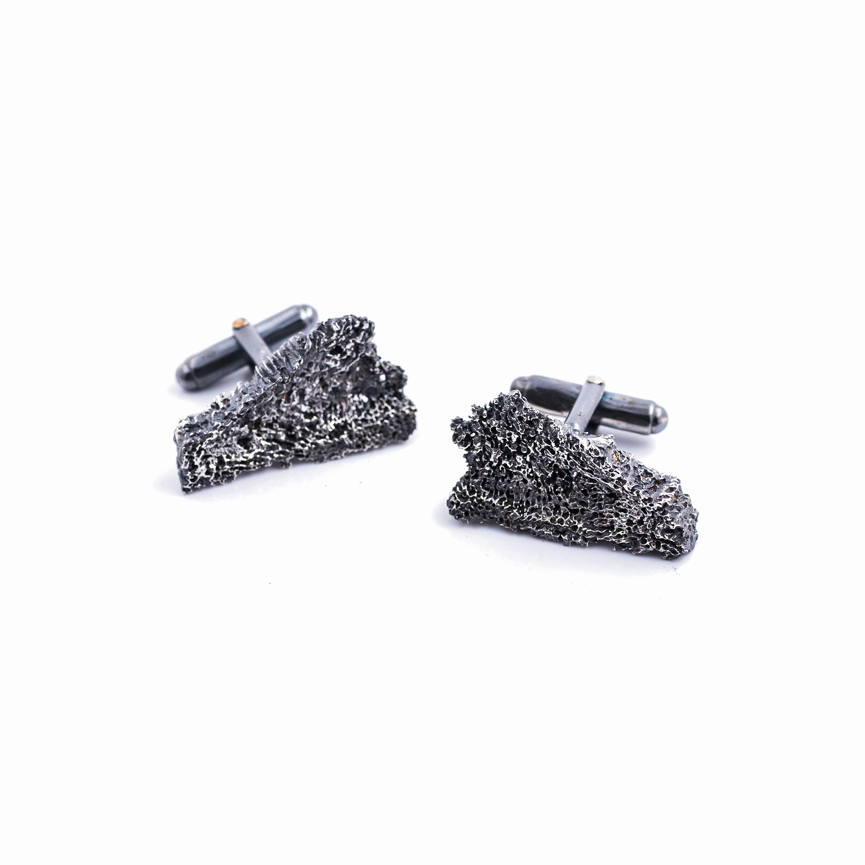 Long Fragment Cufflinks | Sterling silver, patina.