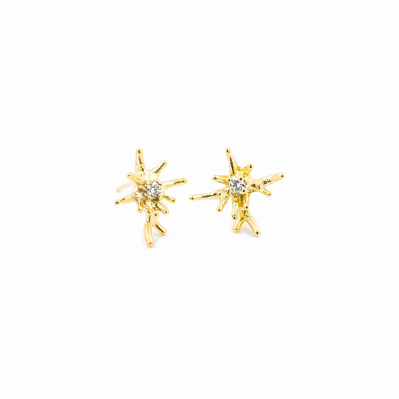 Small Unfolding Earrings | 18ct Yellow Gold, white diamonds.