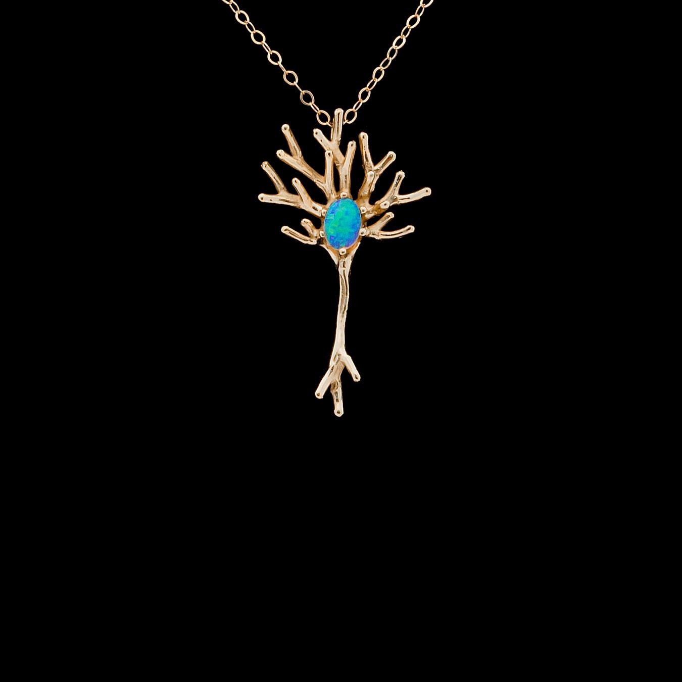 Neuron Pendant | Yellow gold, opal.