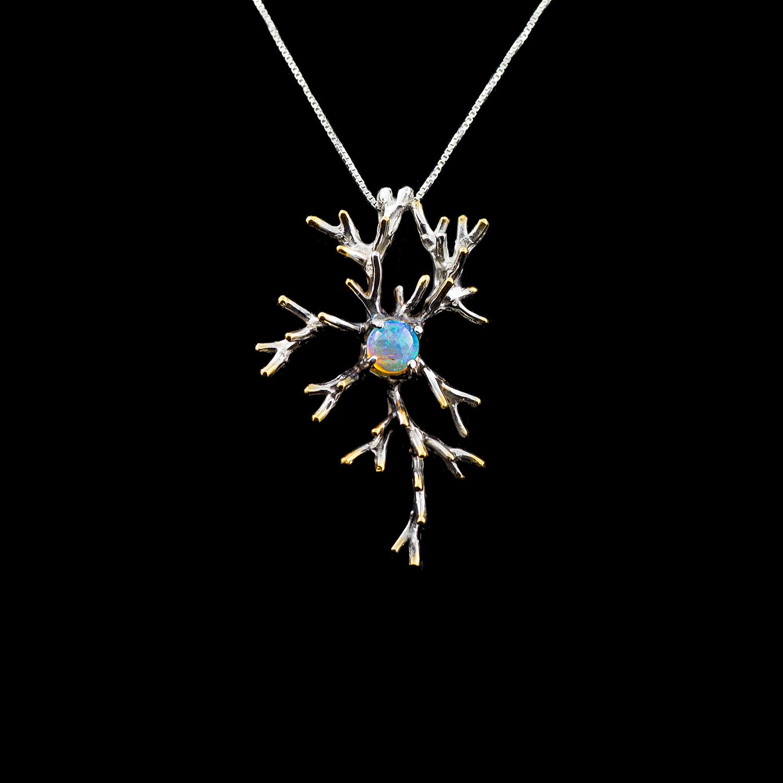 Unfolding Pendant | Sterling silver, Australian opal.