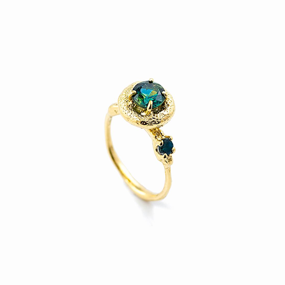 Surfacing Ring | 18ct yellow gold, Australian sapphire, alexanderite.