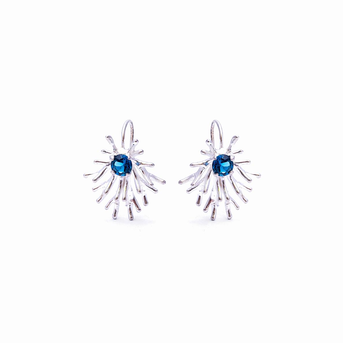 Unfolding Earrings | Sterling silver, topaz.