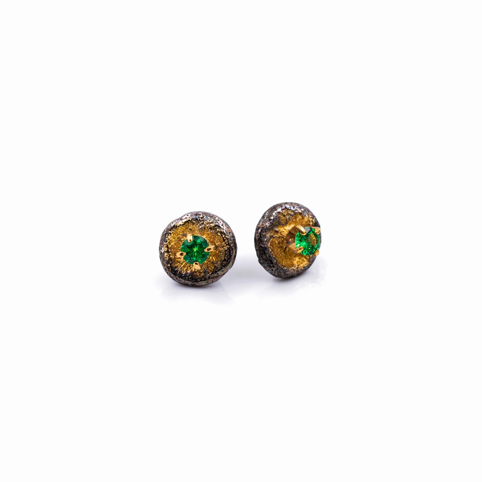 Bouton Earrings | Sterling silver, tsavorite garnet.