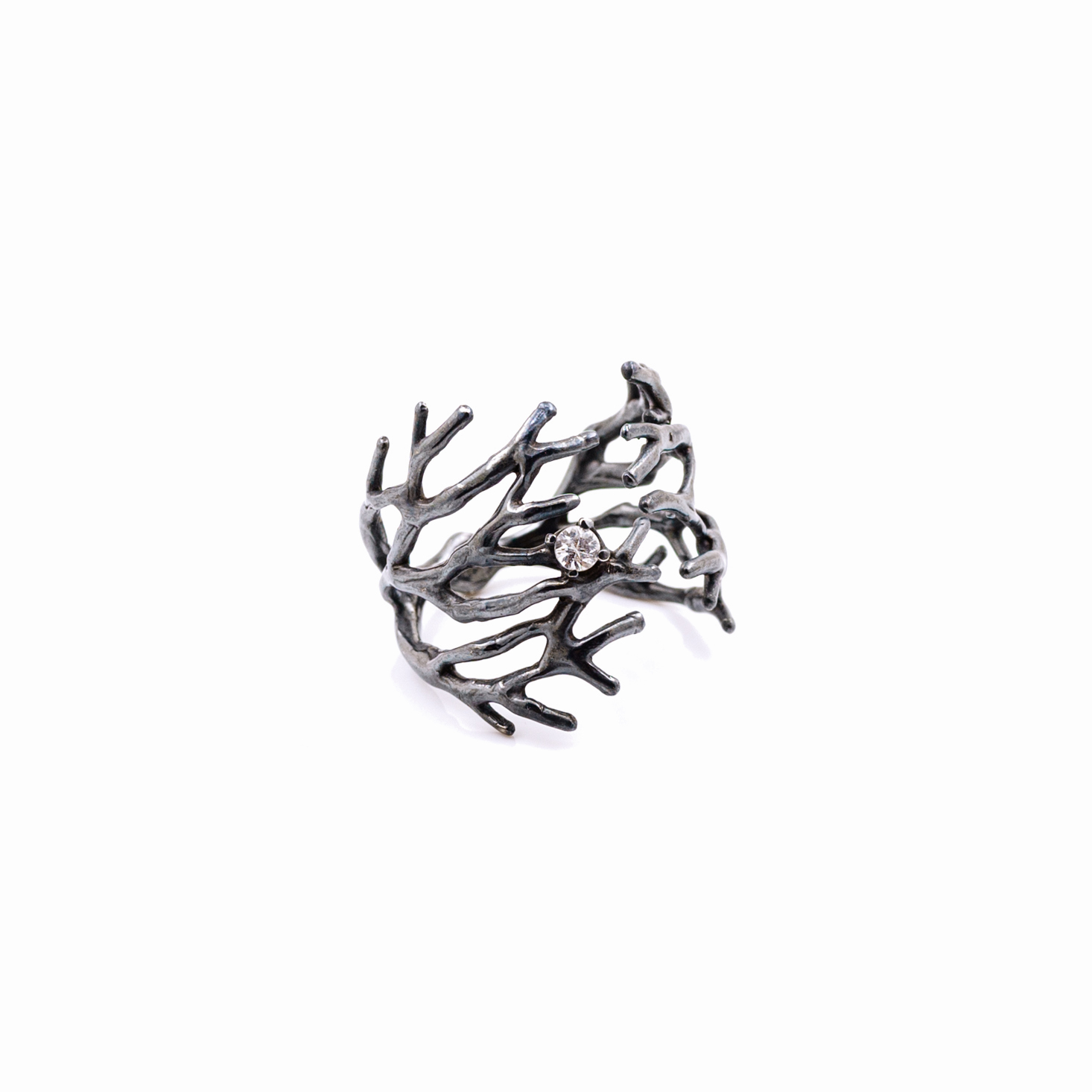 Dark Dendrite Ring | Sterling silver, sapphire.