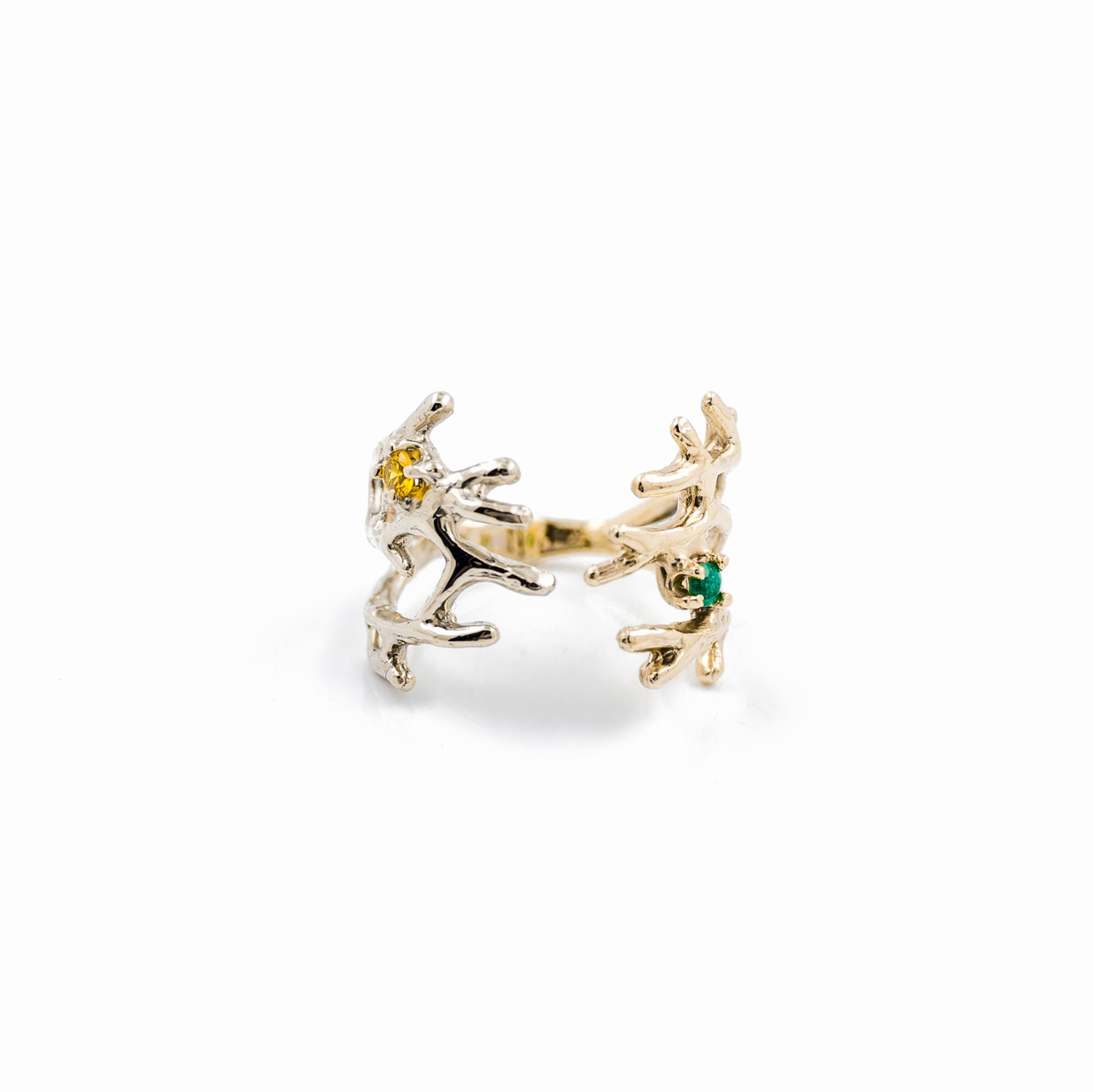 Dendrite Ring | 9ct yellow gold, 9ct white gold, emerald, yellow sapphire.