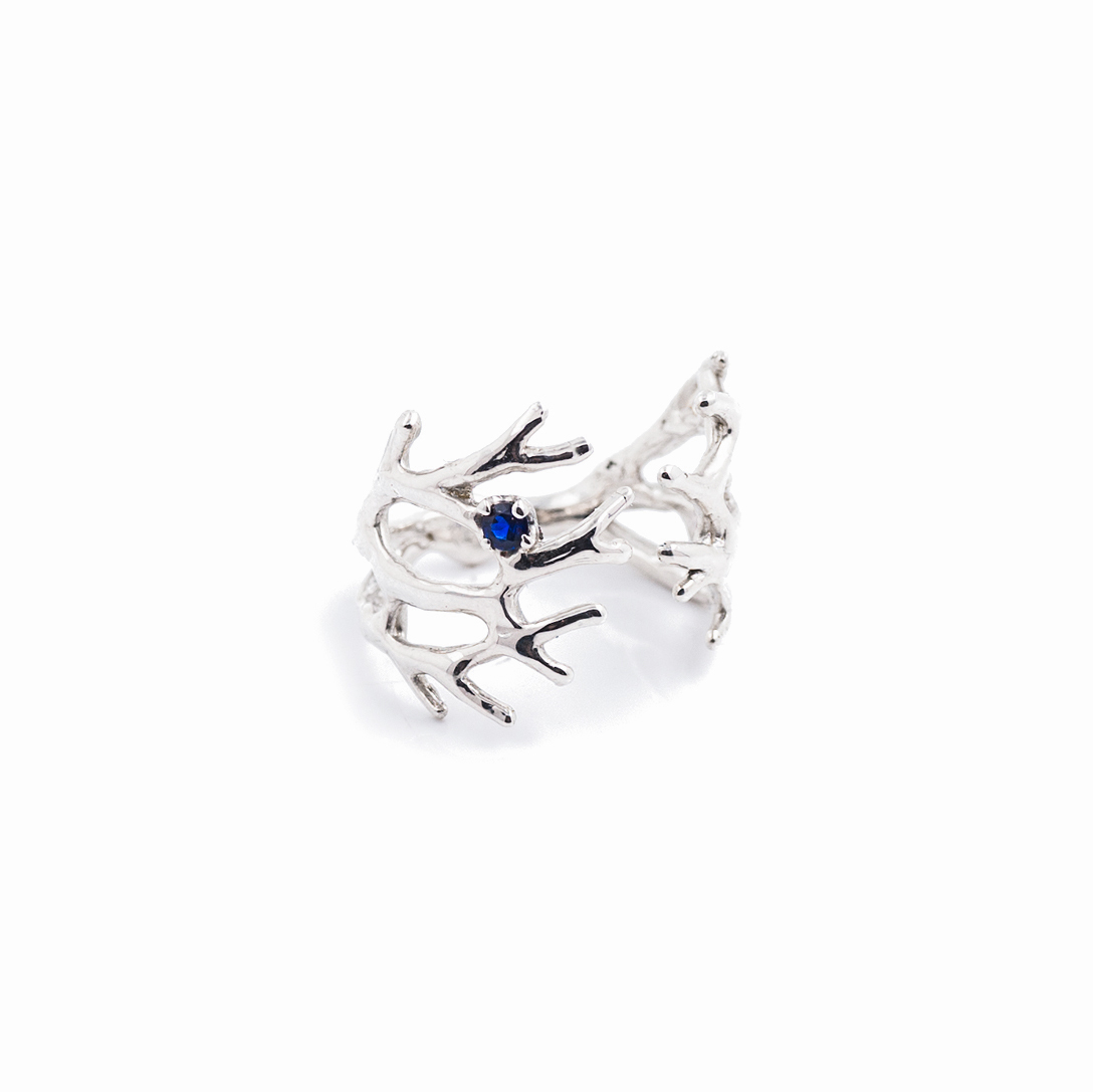 Dendrite Ring | Sterling silver, blue sapphire.