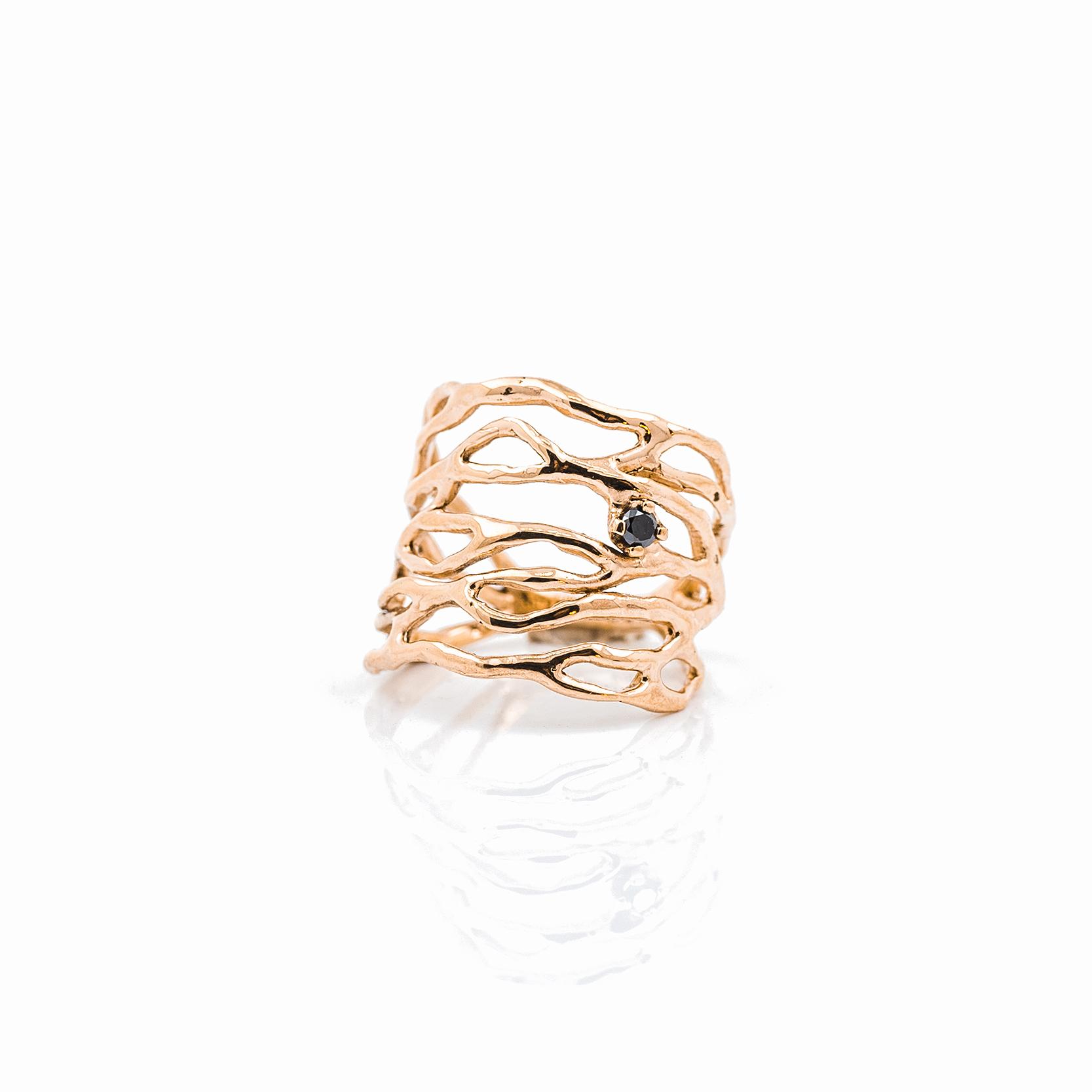 Cajal Ring | Rose gold, black diamond.
