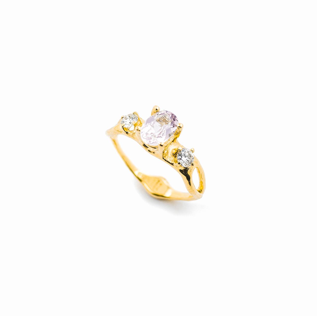 Unfolding Ring | 18ct yellow gold, morganite, white diamonds.