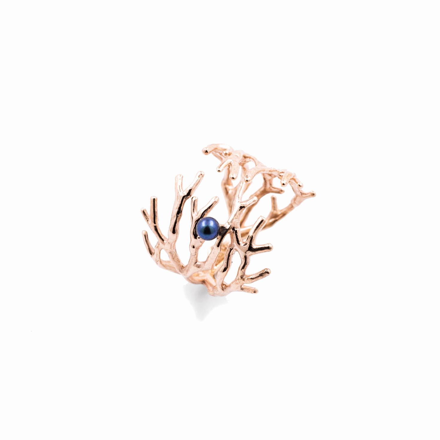 Dendrite Ring | Rose gold, pearl.