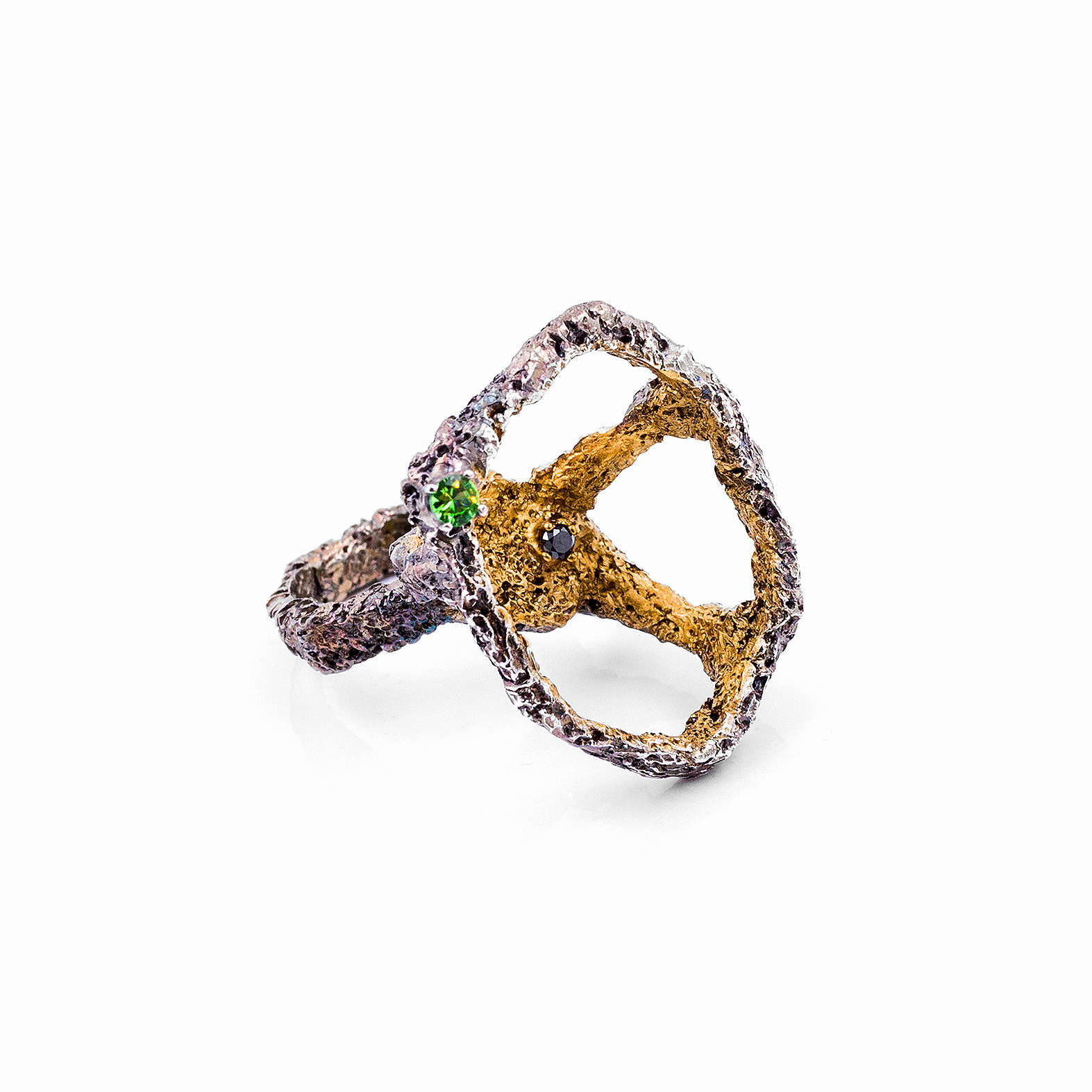 Open Island Ring | Sterling silver, tsavorite garnet, black diamond.