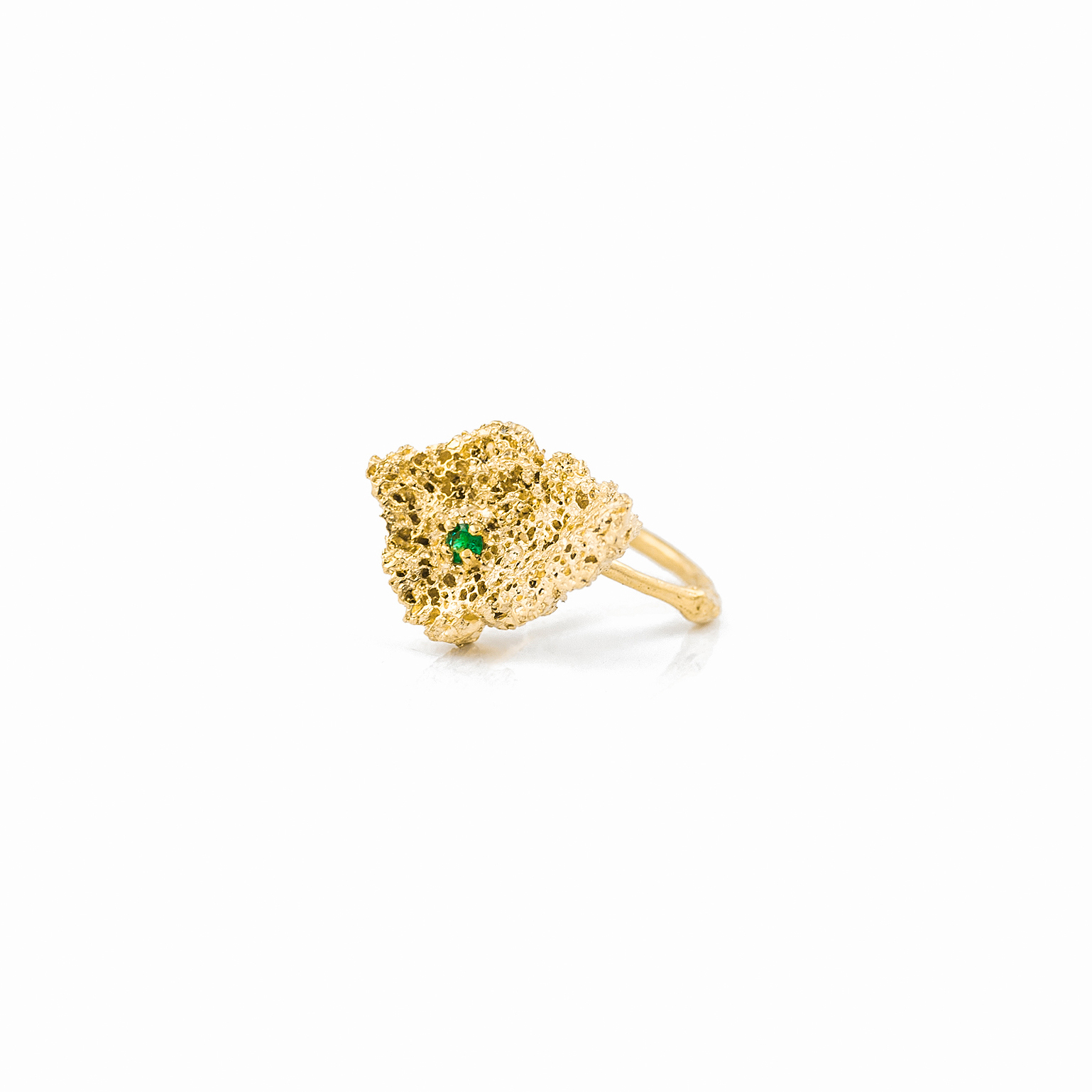 Small Island Ring | 18ct yellow gold, emerald.