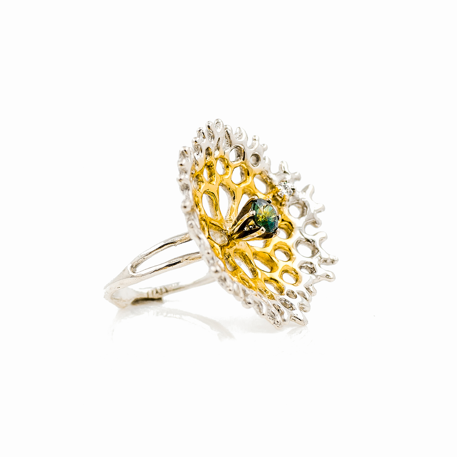 Medium Radial Ring | Sterling silver, Australian sapphire, white diamond.