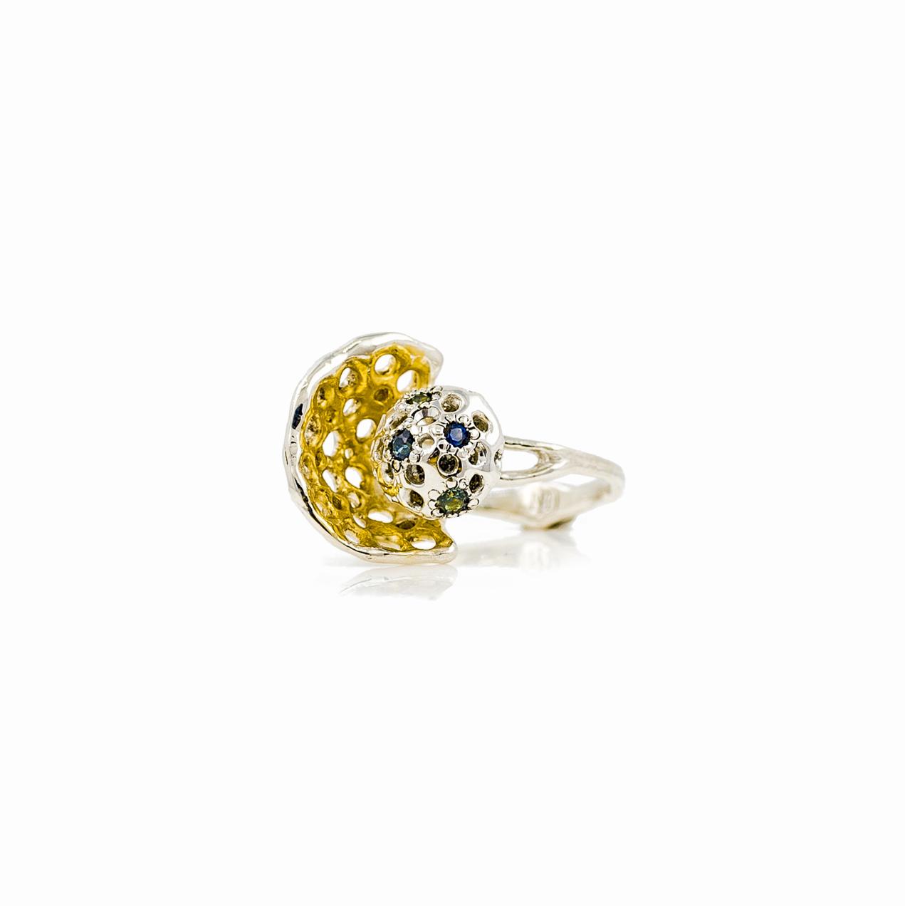 Veil Ring | Sterling silver, Australian sapphires.