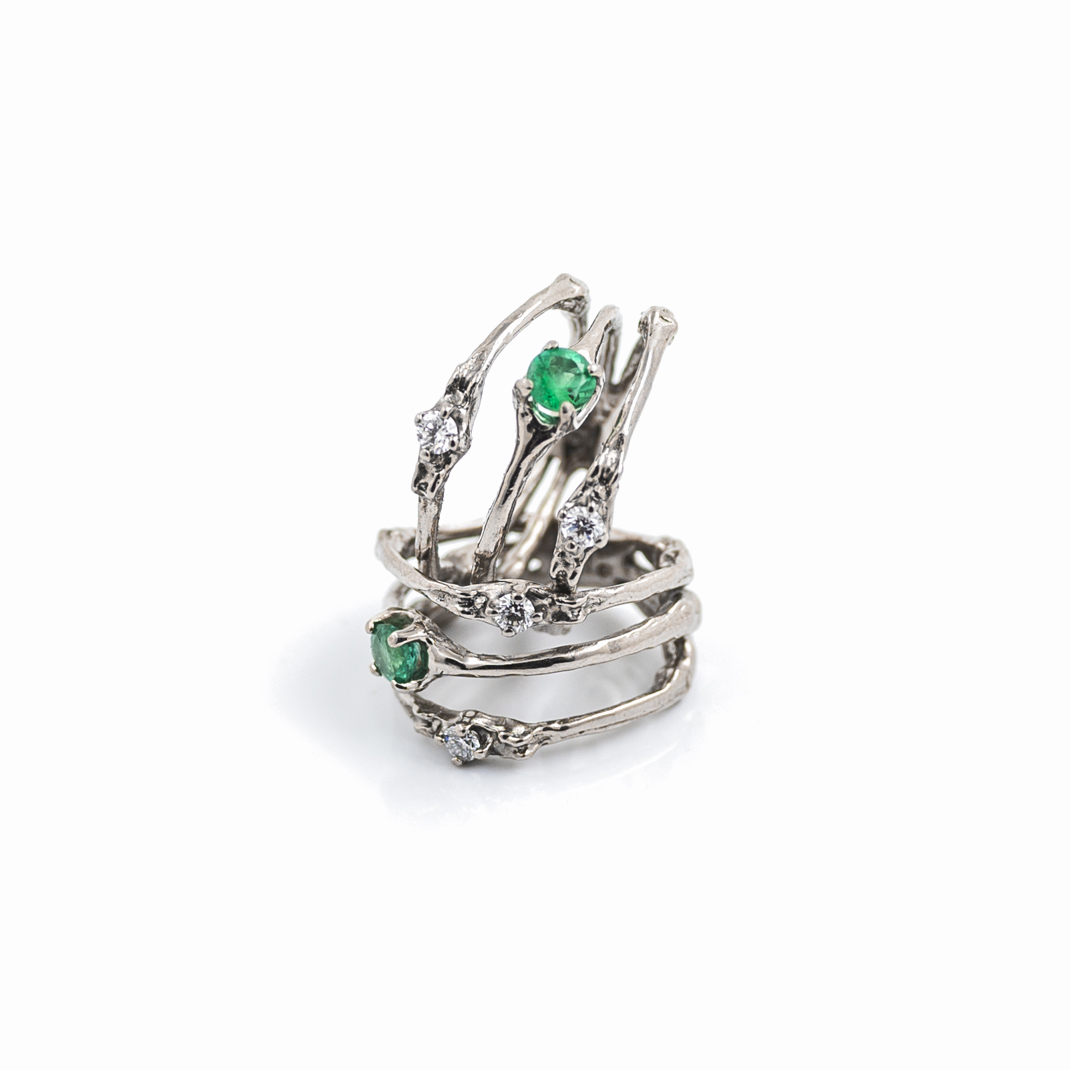Towers Double Band | 18ct white gold, Emerald, white diamonds.