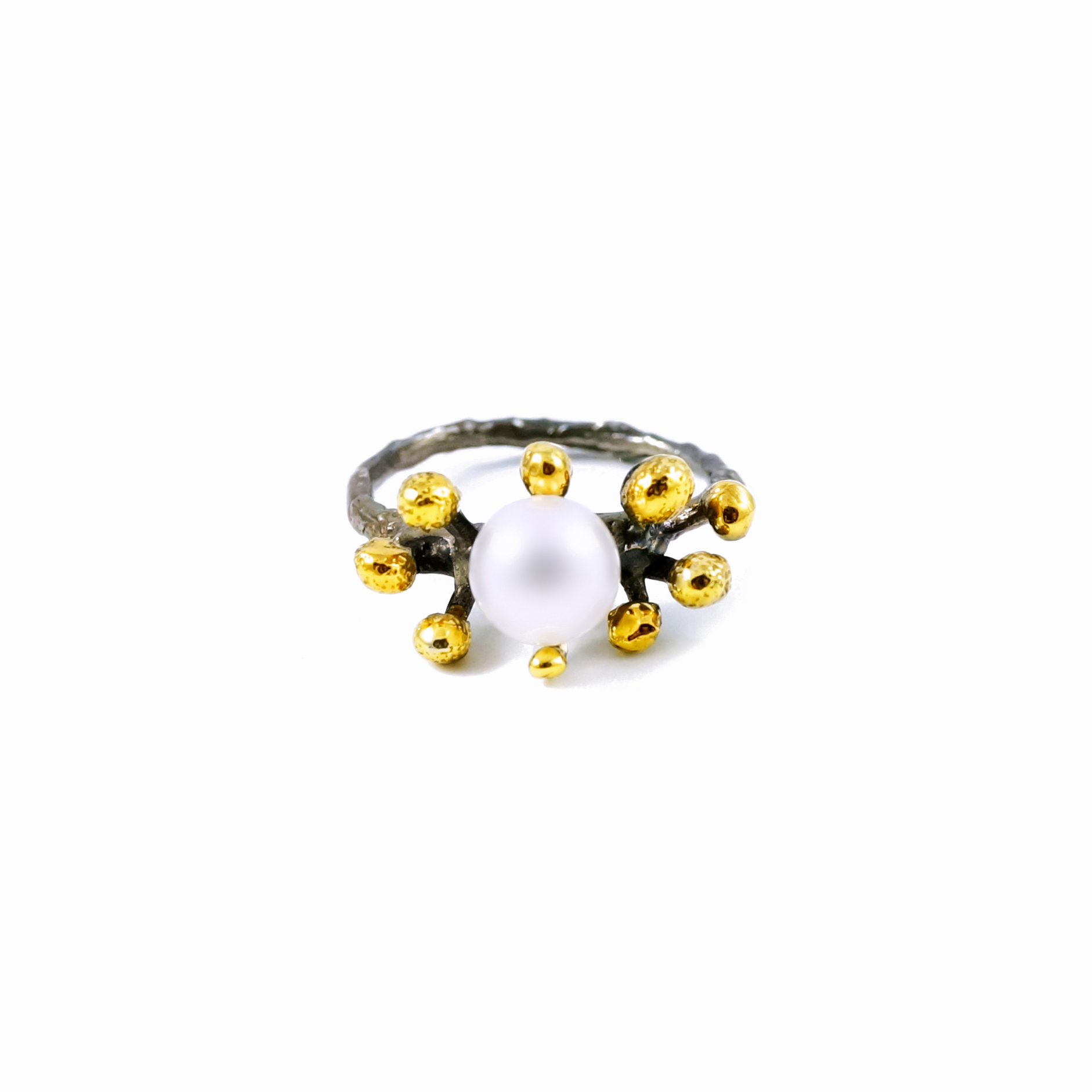 September Ring | Sterling silver, pearl, gold vermeil.