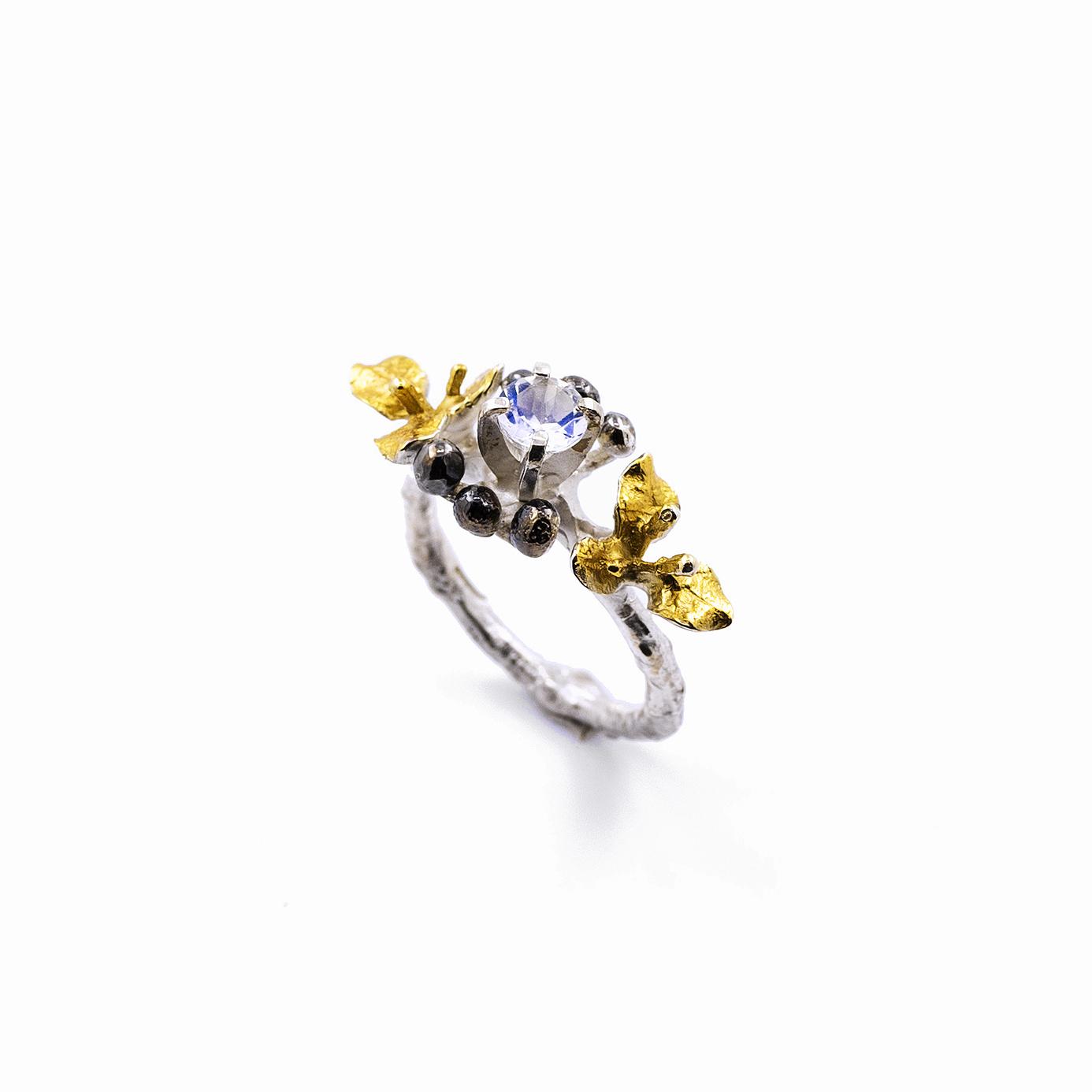 November Ring | Sterling silver, moonstone.