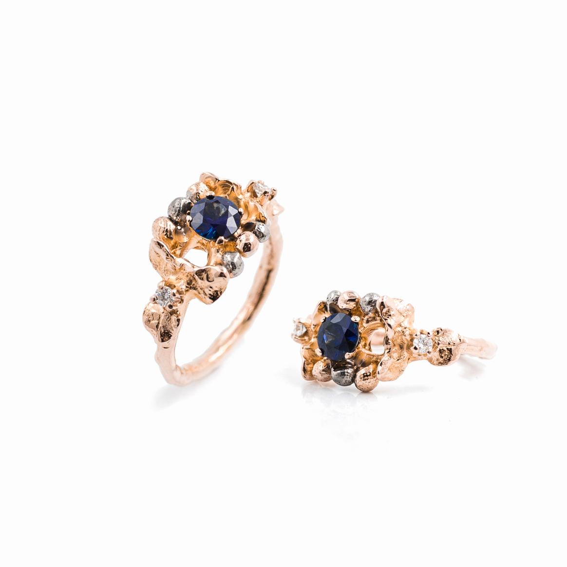 November Ring | 18ct rose gold, blue sapphire, white diamonds.