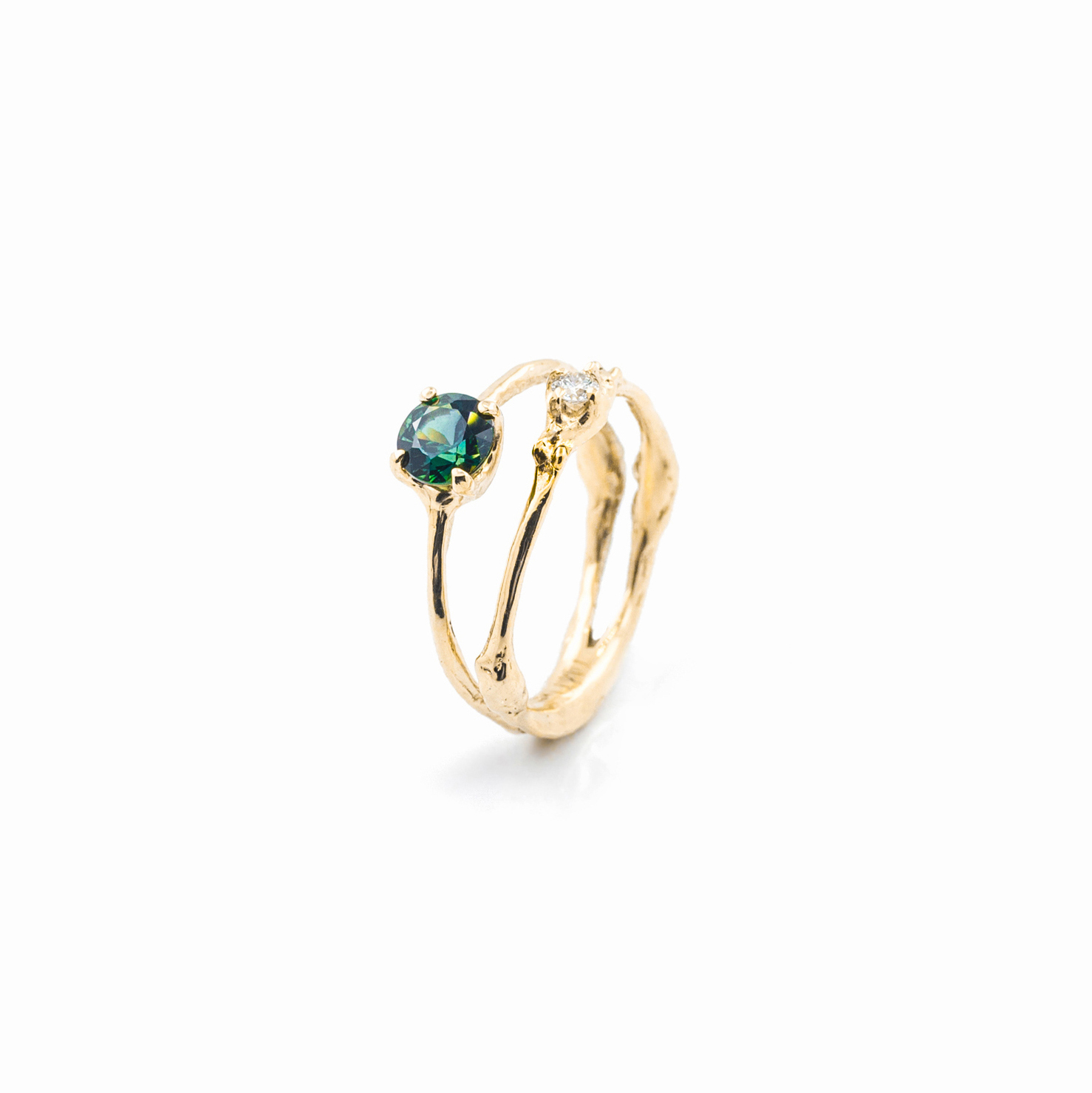 Towers Engagement Ring   18ct yellow gold, sapphire, white diamonds.