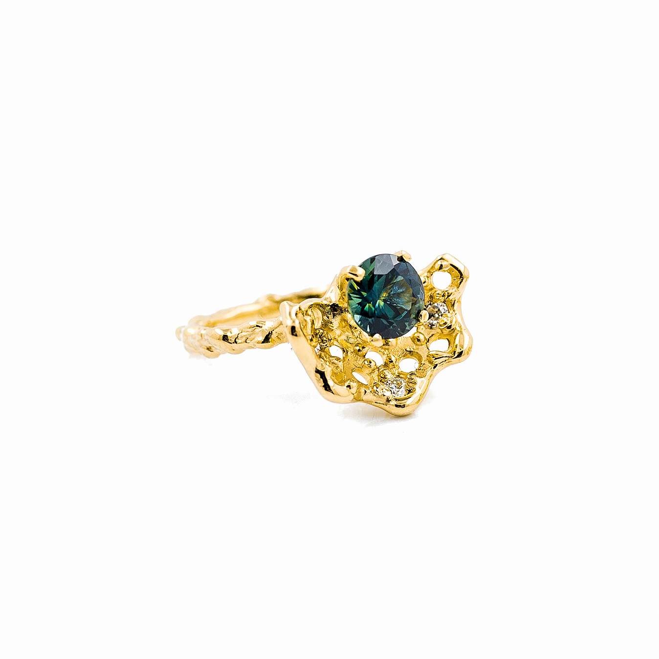 Beneath The Surface Engagement and Wedding Ring | 18ct yellow gold, Australian sapphire, white diamonds.