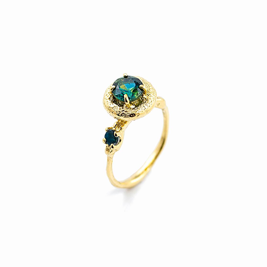 Surfacing Engagement Ring   18ct yellow gold, Australian sapphire, alexanderite.