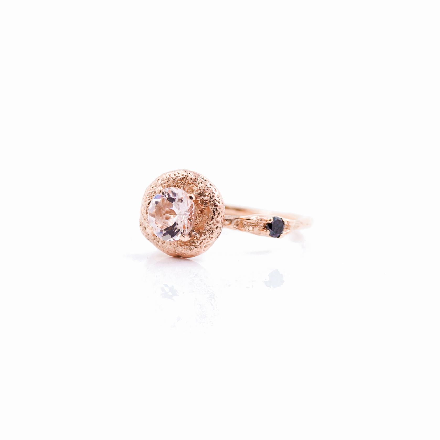 Surfacing Engagement Ring   18ct rose gold, morganite, black diamond.