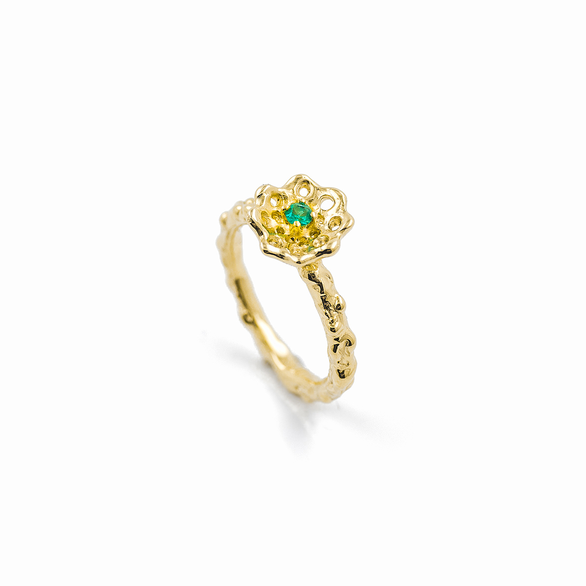 Cusp Engagement ring Band | Yellow gold, emerald.