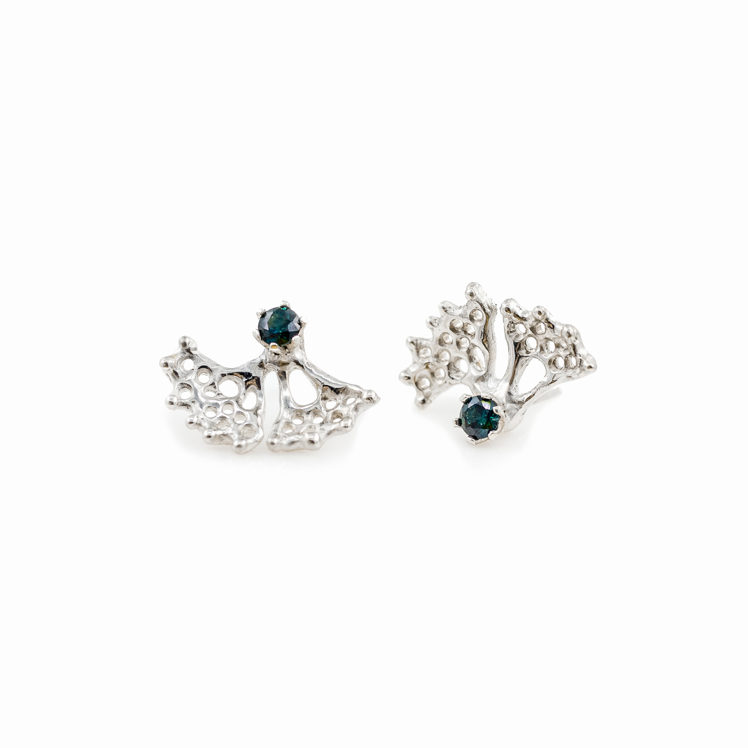 Silver fanned earrings with Australian parti sapphires