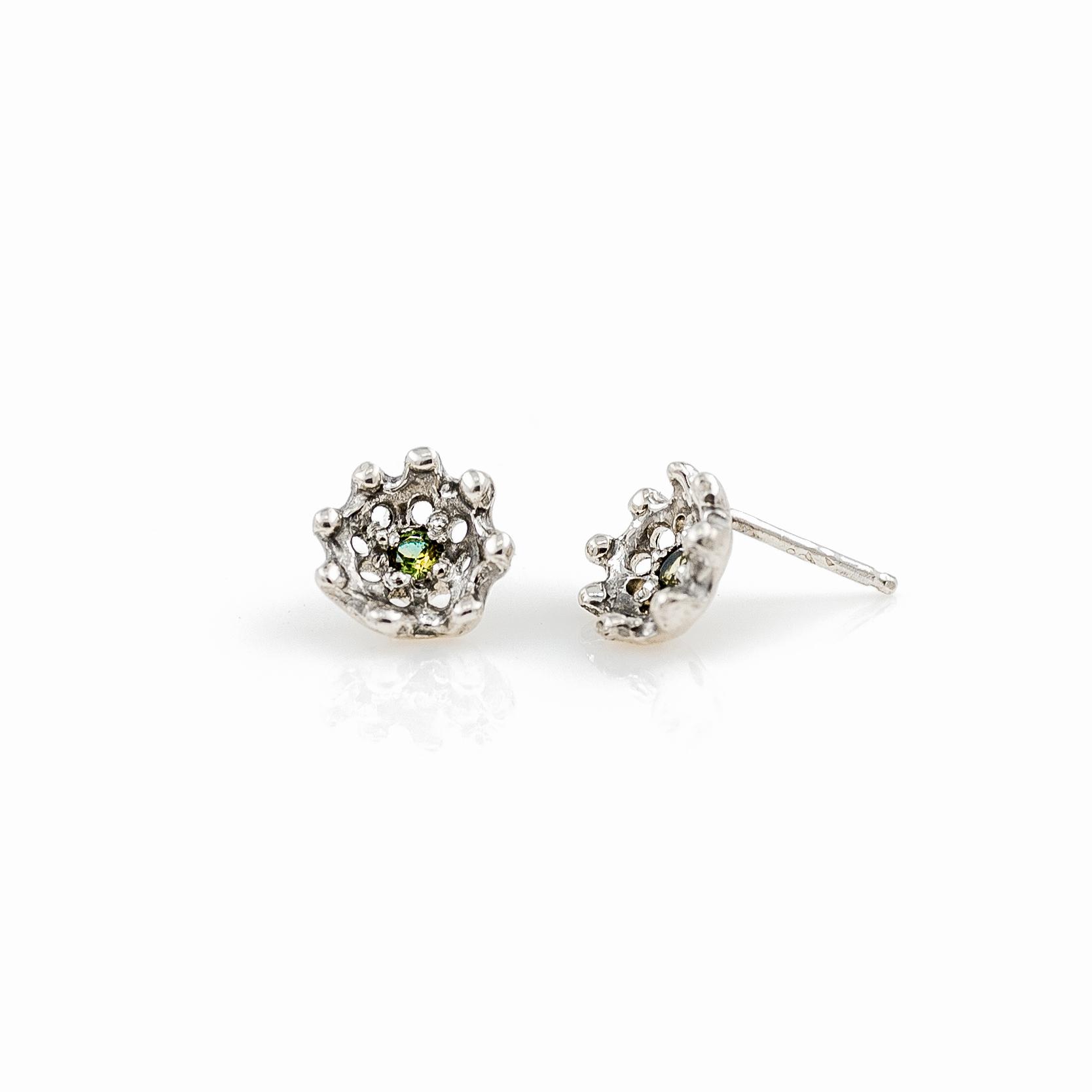 Blue-green Australian sapphires set into oganic silver studs.