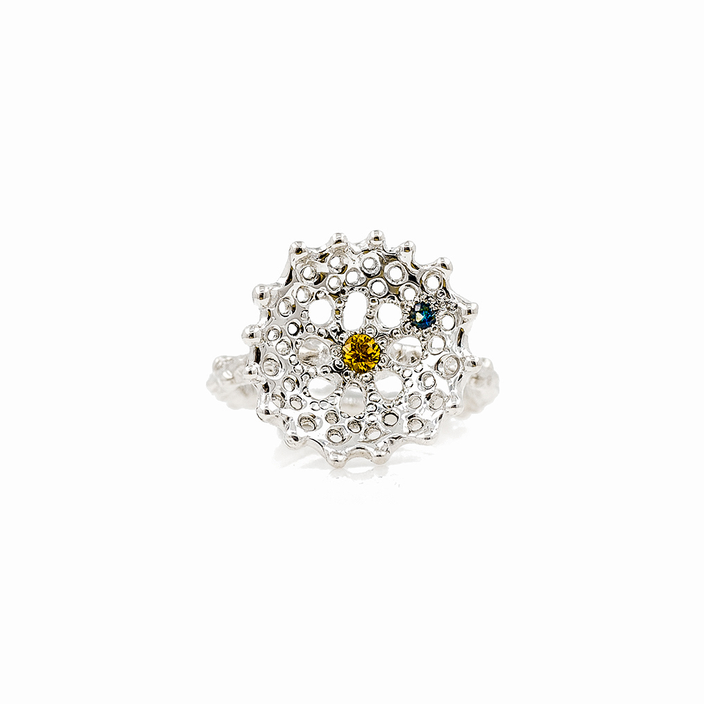 Yellow and blue Australian sapphires are set into this carefully textured silver radial ring.