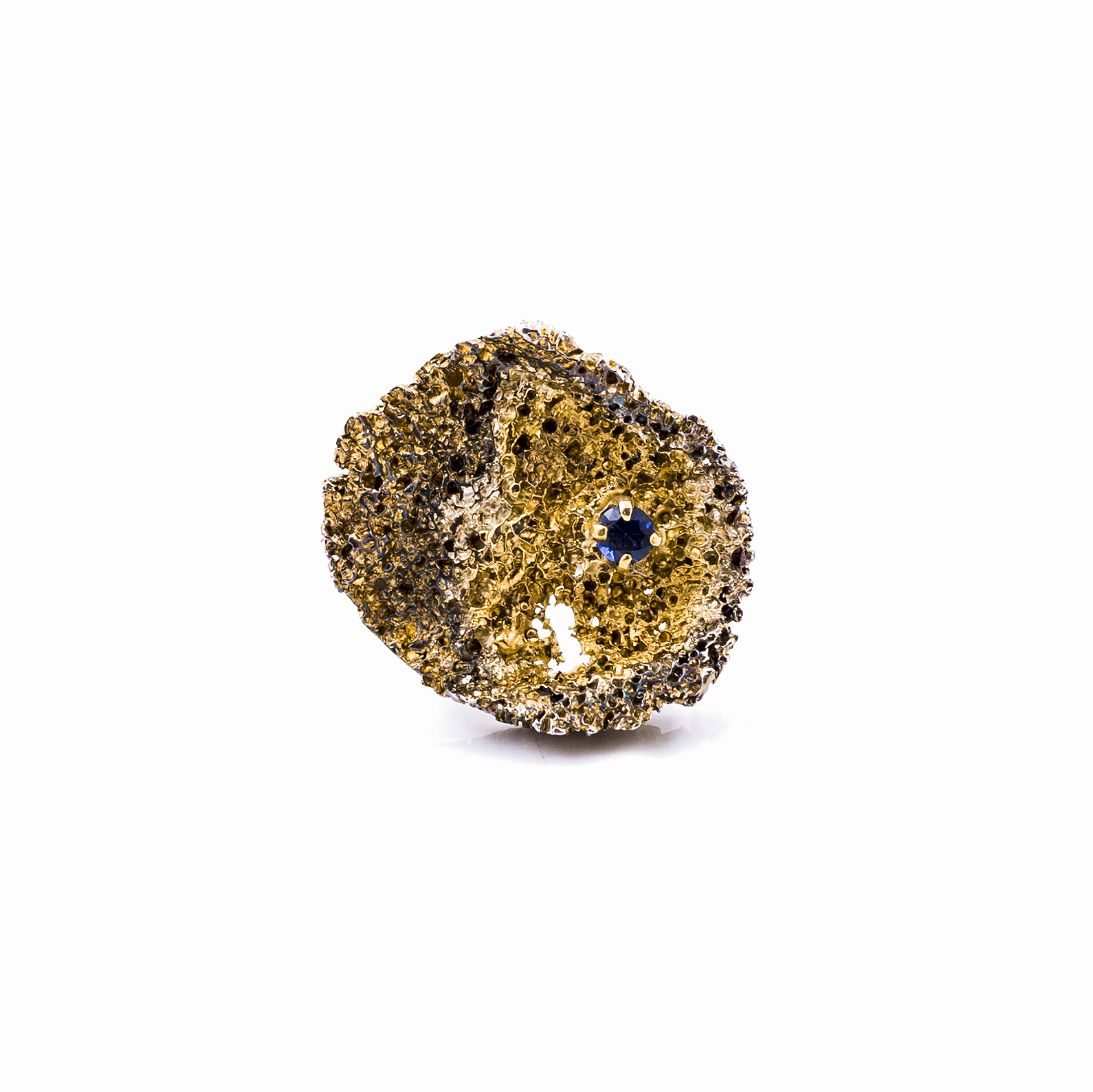 Round Inner Island Ring   | Sterling silver, sapphire, gold vermeil, patina.