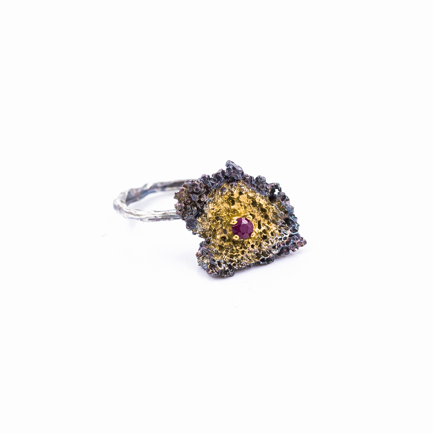 Small Inner Island Ring   | Sterling silver, ruby, gold vermeil, patina.