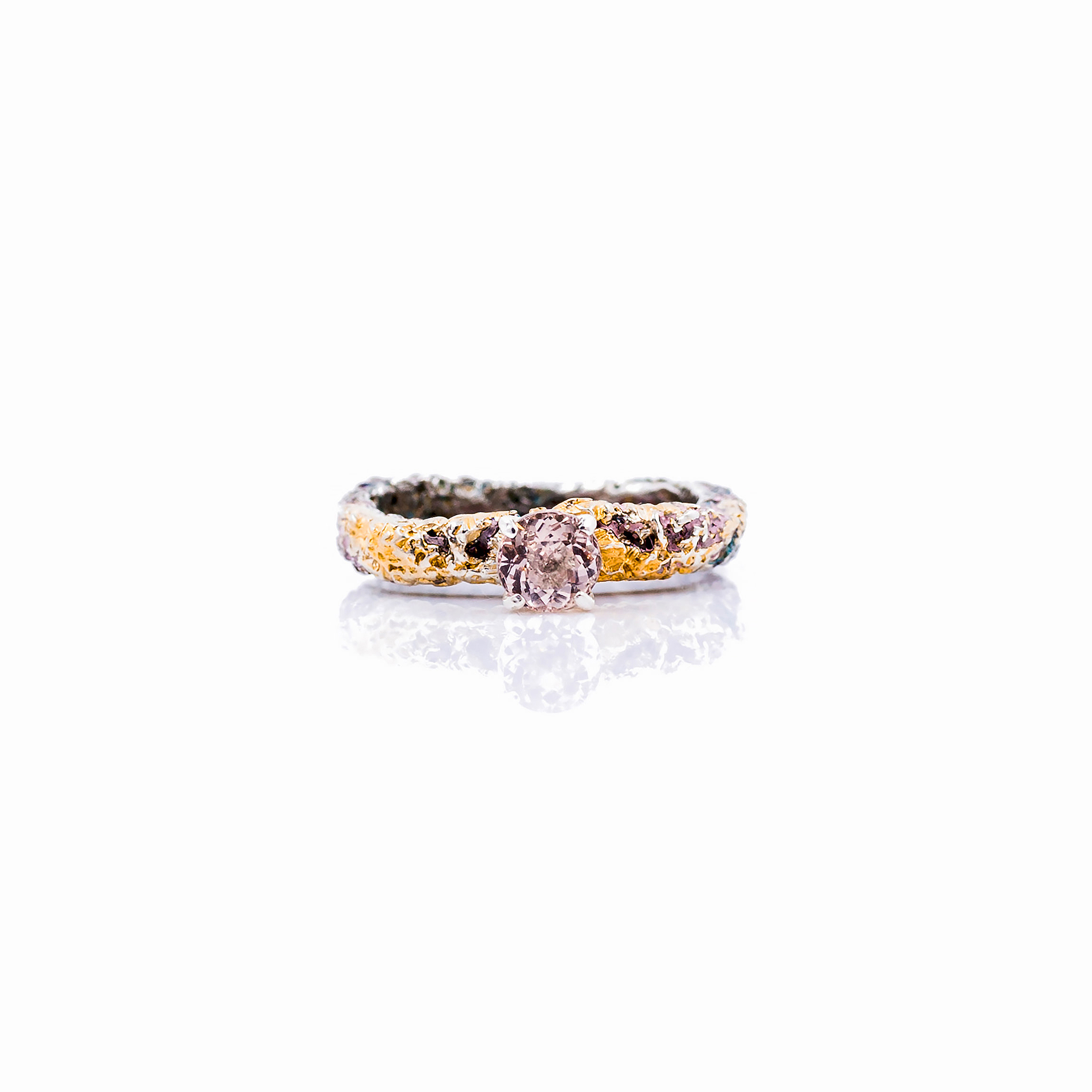 Graceful Inner Islands Solitaire Ring |   Sterling silver, morganite, paint, gold vermeil, patina.