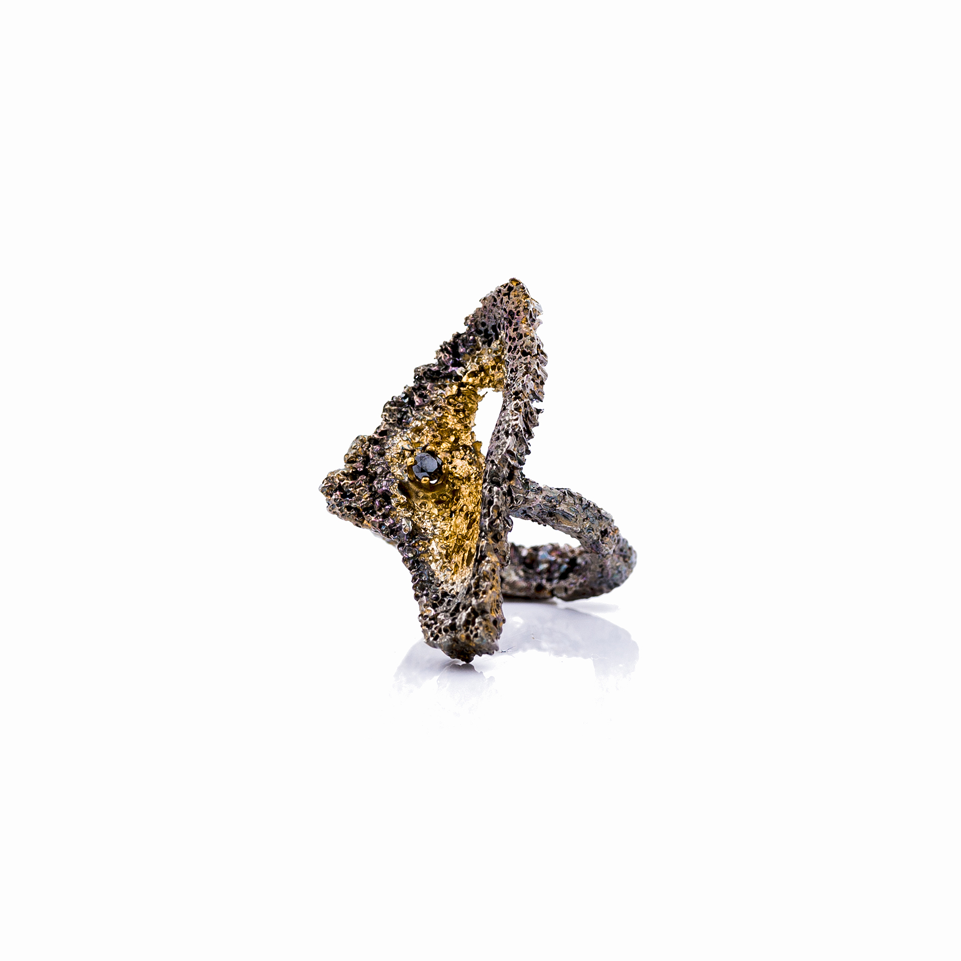 Graceful Inner Islands ring   | Sterling silver, black diamond, gold vermeil, patina.