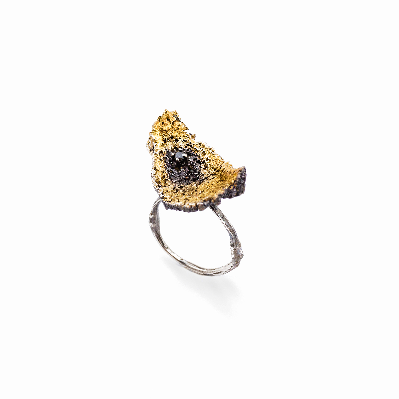 Curved Inner Island Ring   | Sterling silver, black diamond, gold vermeil, patina.